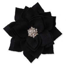 8cm Diamante Dahlia BLACK Fabric Flower Applique